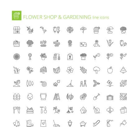 set icons ligne mince. symboles plats sur magasin de fleurs et le jardinage Vecteurs