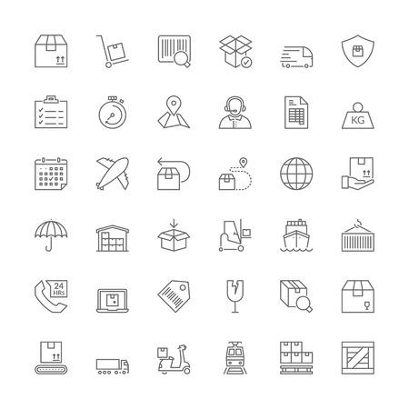 icônes de lignes minces définies. symboles plats sur l'expédition et de la logistique