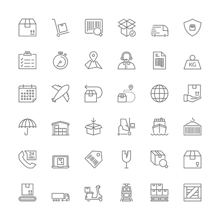 Thin line icons set. Flat symbols about shipping and logistics