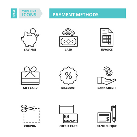 methods: Flat symbols about payment methods. Thin line icons set.