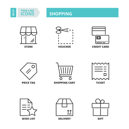 Flat symbols about shopping. Thin line icons set.