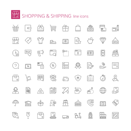 Thin line icons set. Flat symbols about shopping and shipping