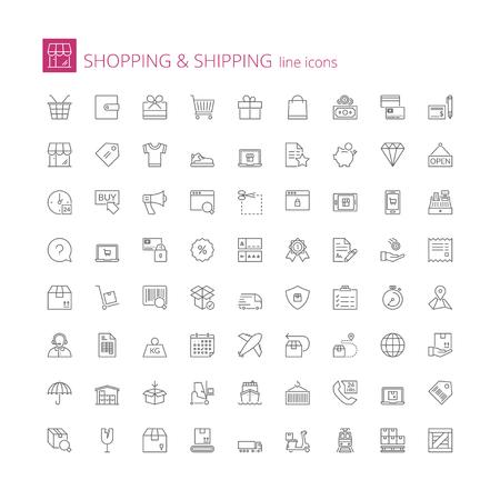 Zestaw ikon cienka linia. Płaskie symbole na temat zakupów i wysyłki Ilustracje wektorowe