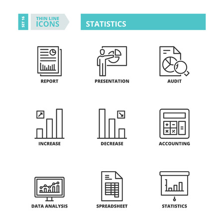 spreadsheets: Flat symbols about statistics. Thin line icons set. Illustration