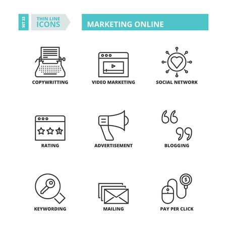keywording: Flat symbols about marketing online. Thin line icons set. Illustration