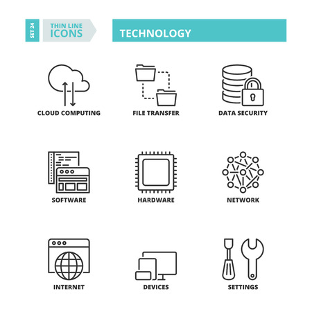 Flat symbols about technology. Thin line icons set. Çizim