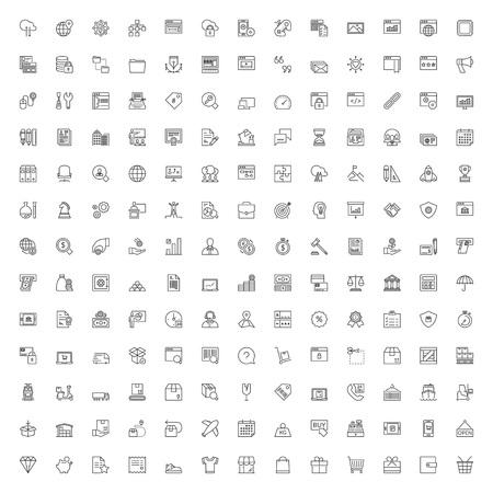 Icone linea sottile impostate. 169 simboli piani di affari, finanza, shopping, il trasporto, la logistica e la tecnologia Vettoriali