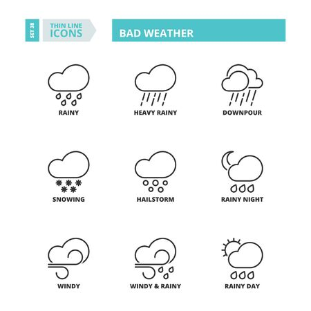 windy day: Flat symbols about bad weather. Thin line icons set.