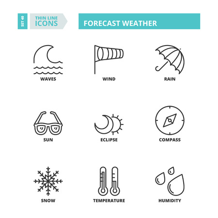 humidity: Flat symbols about weather forecast. Thin line icons set.