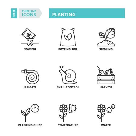 potting soil: Flat symbols about planting. Thin line icons set. Illustration