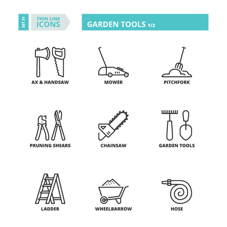 pruning: Flat symbols about garden tools. Thin line icons set 1. Illustration