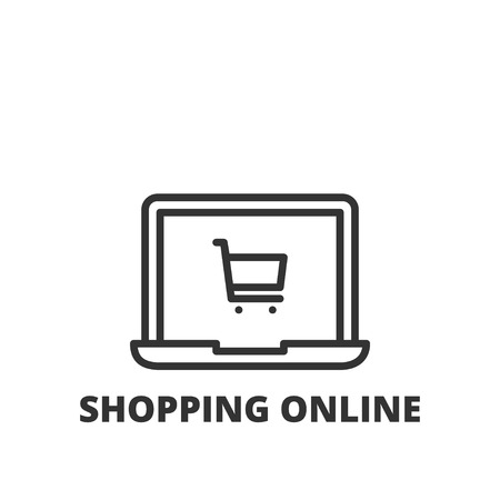 online purchase: Thin line icon. Flat symbol about shopping. Shopping online