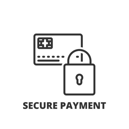 linea sottile icona. simbolo piatto sullo shopping. pagamento sicuro