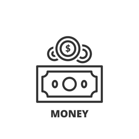 Thin line icon. Flat symbol about finances. Money Ilustração