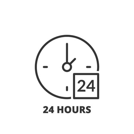 24 hours: Thin line icon. Flat symbol about shopping. 24 hours Illustration