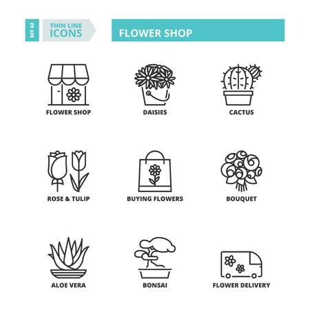 Flat symbolen over bloemenwinkel. Dunne lijn iconen set. Stock Illustratie