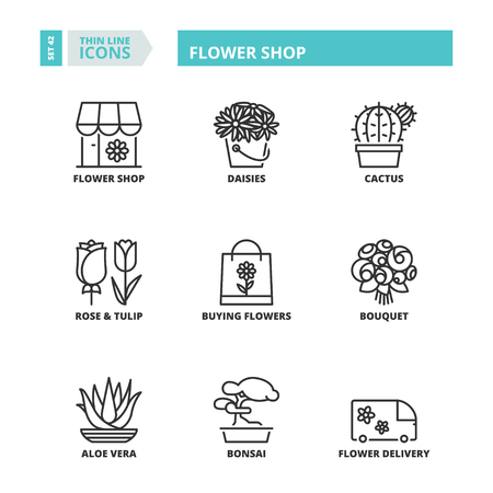 Flat symbols about flower shop. Thin line icons set.