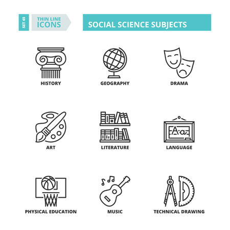 science symbols: Flat symbols about school. Social science subjects. Thin line icons set.
