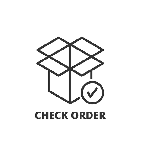 check symbol: Thin line icon. Flat symbol about shipping. Check order