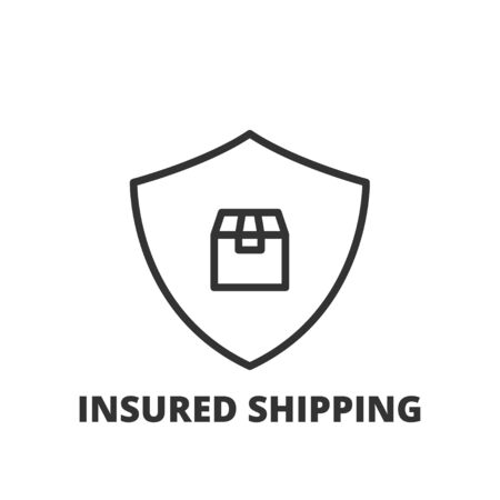 insured: Thin line icon. Flat symbol about insured shipping