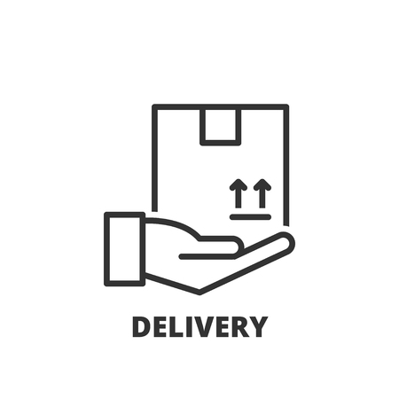 Thin line icon. Flat symbol about shipping. Delivery Çizim