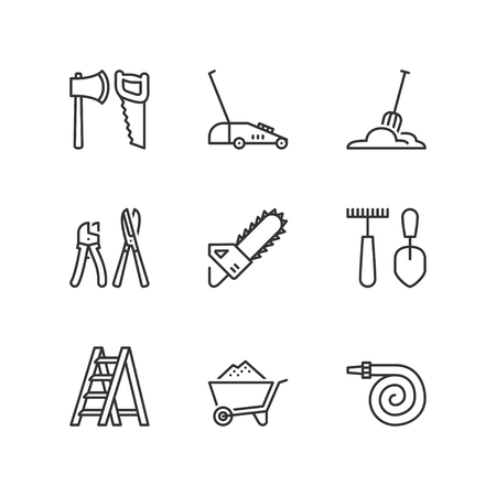 garden hoses: Thin line icons set about garden tools 1. Flat symbols