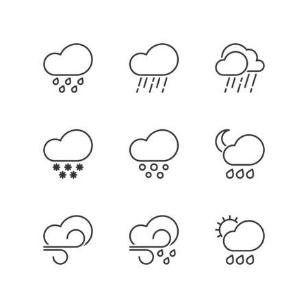 bad weather: Thin line icons set about bad weather. Flat symbols Illustration
