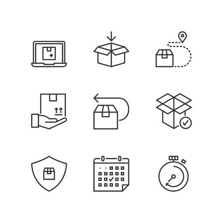 icônes de lignes fines mettent à l'expédition. symboles plats