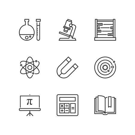 science symbols: Thin line icons set about school. Science subjects. Flat symbols Illustration