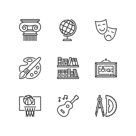 social history: Thin line icons set about school. Social science subjects. Flat symbols Illustration