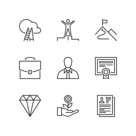work experience: Thin line icons set about professional success. Flat symbols