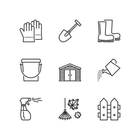 Dunne lijn pictogrammen instellen over tuingereedschap 2. Flat symbolen