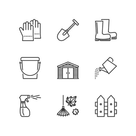 Thin line icons set about garden tools 2. Flat symbols