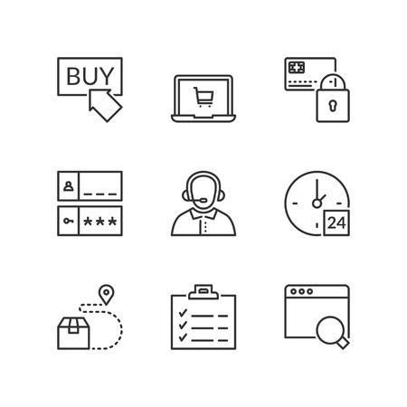 Thin line icons set about shopping online. Flat symbols