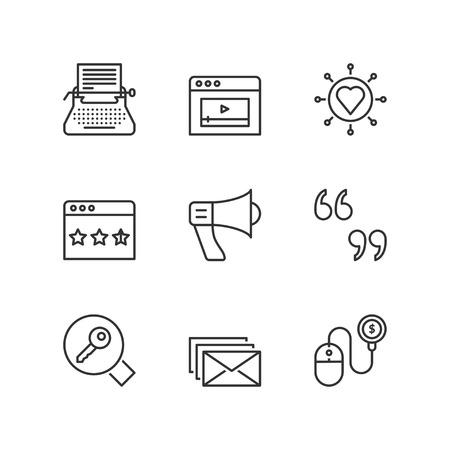 keywording: Thin line icons set about marketing online. Flat symbols Illustration