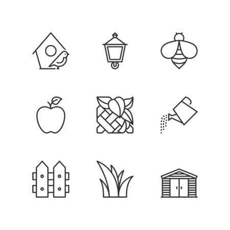 garden plant: Thin line icons set about garden. Flat symbols