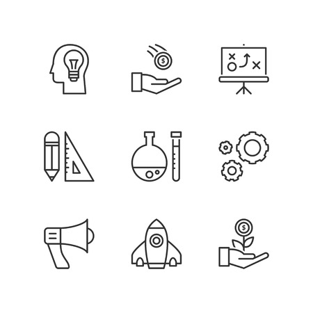business symbols: Thin line icons set about business process. Flat symbols