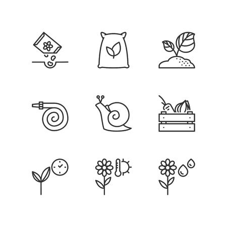 planting: Thin line icons set about planting. Flat symbols