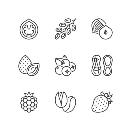 raspberry: Thin line icons set about nuts & berries. Flat symbols