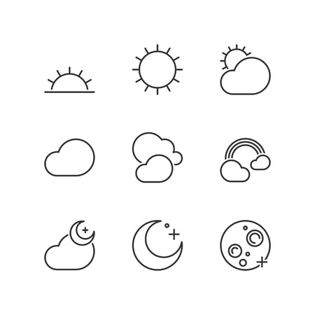 sunny: Thin line icons set about good weather. Flat symbols