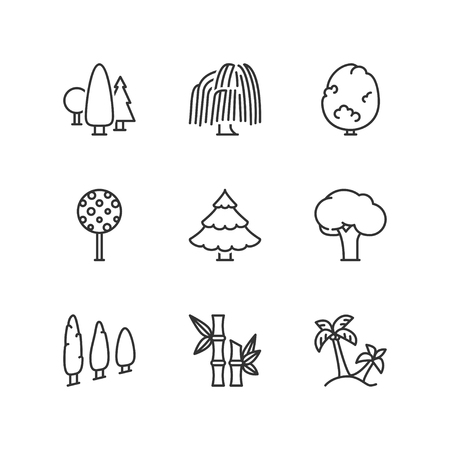 weeping: Thin line icons set about trees. Flat symbols