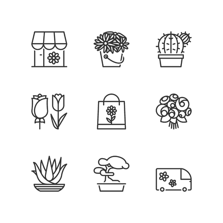 delivery icon: Thin line icons set about flower shop. Flat symbols