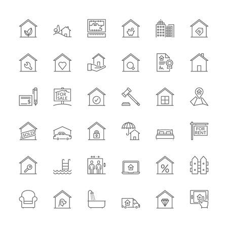 Cienka linia zestaw ikon. Płaskie symbole o nieruchomości