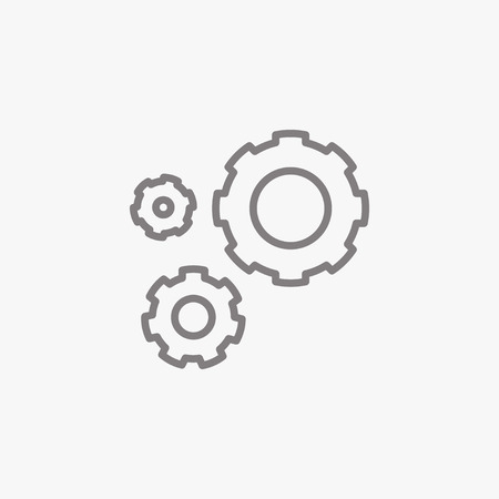 gear symbol: Production. Thin line icon. Flat symbol about business. Illustration