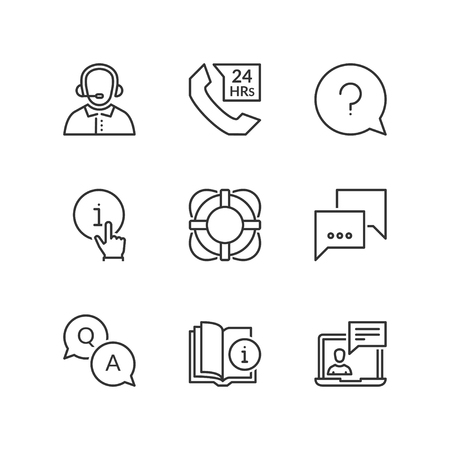 guidebook: Thin line icons set about support. Flat symbols
