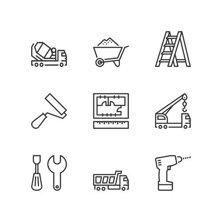 ladder: Thin line icons set about construction. Flat symbols Illustration