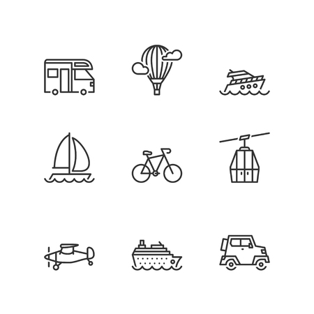 icons set: Thin line icons set about leisure and transport. Flat symbols