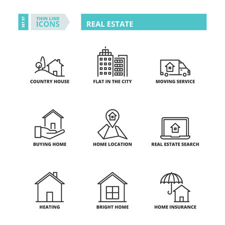 symbols: Flat symbols about real estate. Thin line icons set.