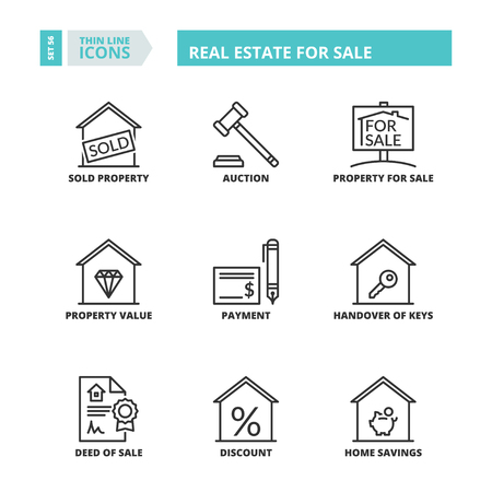 sale icons: Flat symbols about real estate for sale. Thin line icons set. Illustration