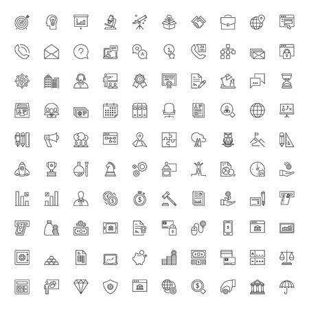 Iconen set. 100 dunne lijn symbolen over het bedrijfsleven en financiën